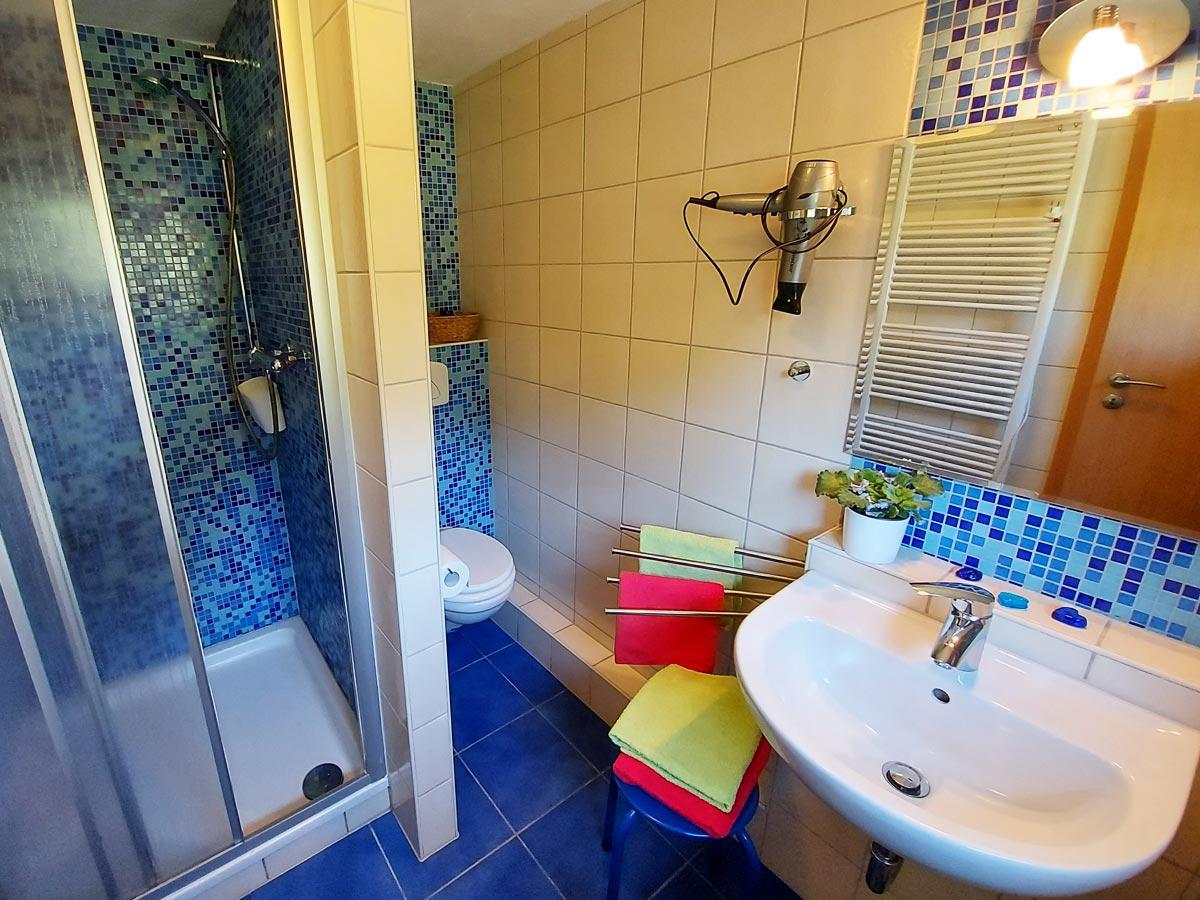 Ferienhaus Dorfbachklamm - Badezimmer mit Dusche und WC