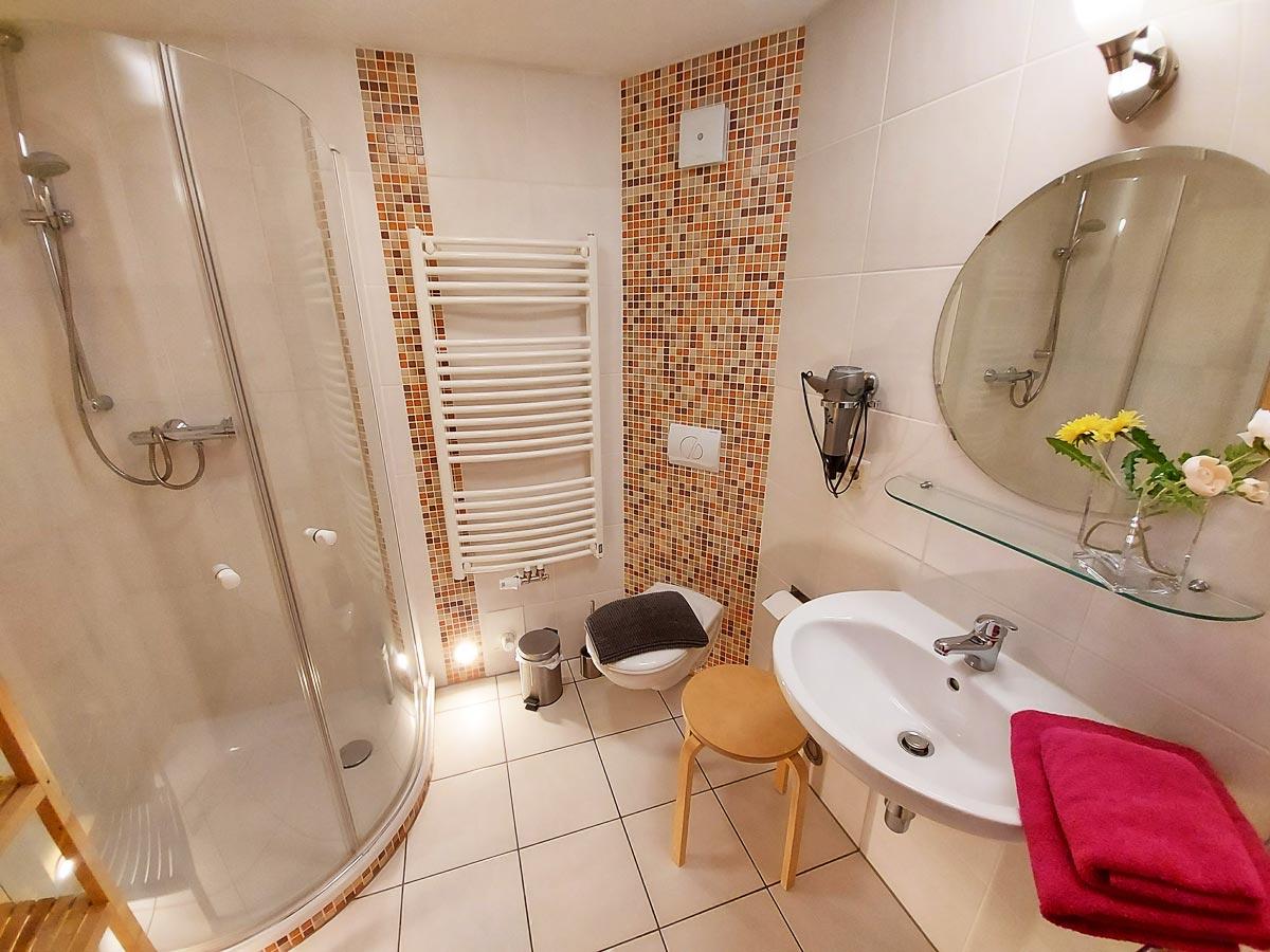 Ferienhaus Schrammsteinblick - Ferienwohnung1 - Badezimmer mit Dusche und WC
