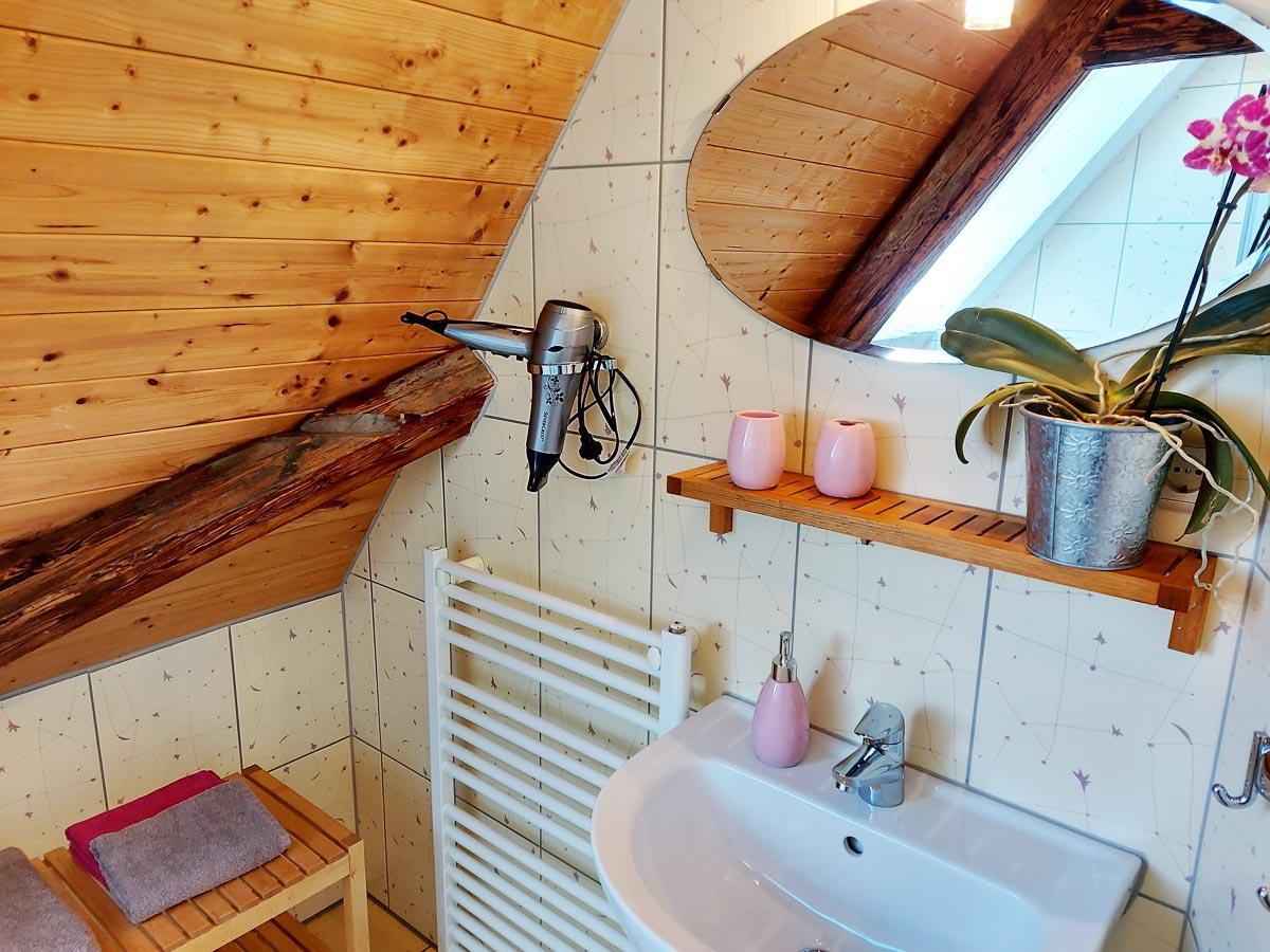 Ferienhaus Schrammsteinblick - Ferienwohnung3 - Badezimmer mit Waschbecken und Fön