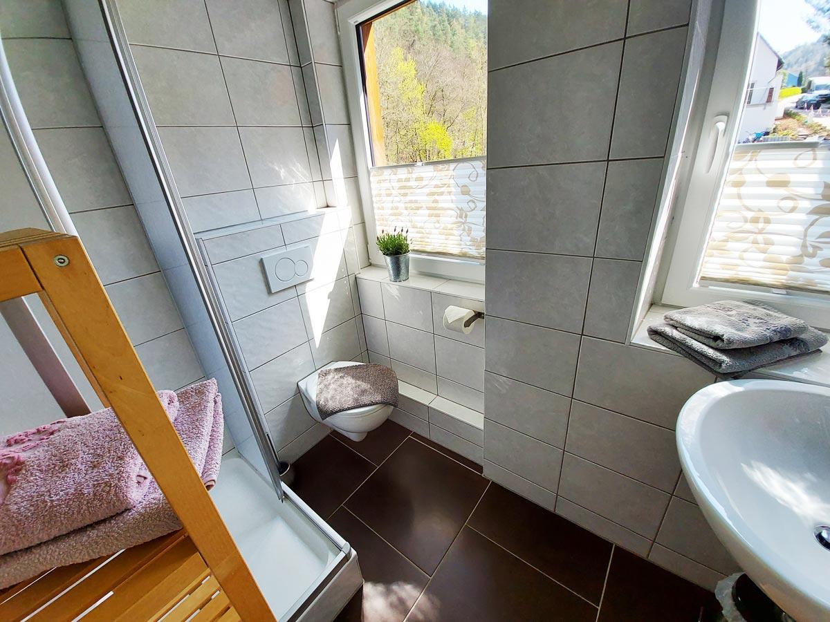Ferienhaus Zum Kirnitzschtal - Ferienwohnung2 - Badezimmer mit Dusche und WC