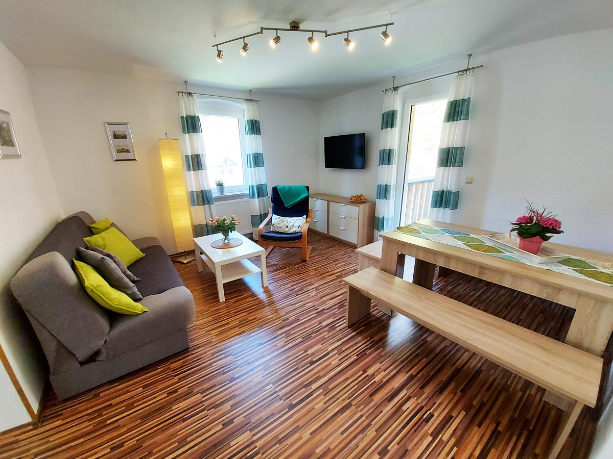 Ferienhaus Zum Kirnitzschtal - Ferienwohnung2 - Wohnzimmer mit Sofa und TV