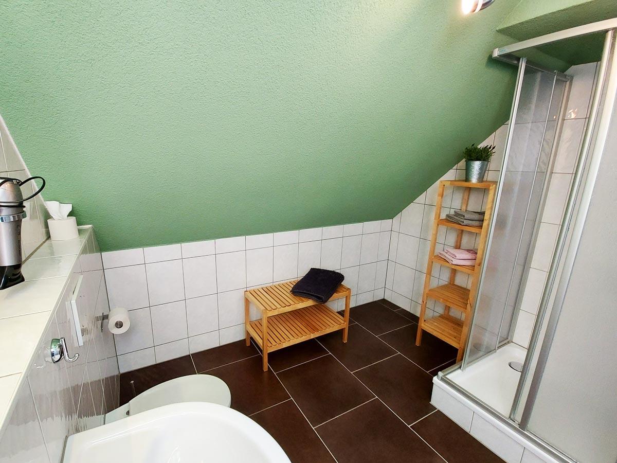 Ferienhaus Zum Kirnitzschtal - Ferienwohnung3 - Badezimmer mit Dusche und WC