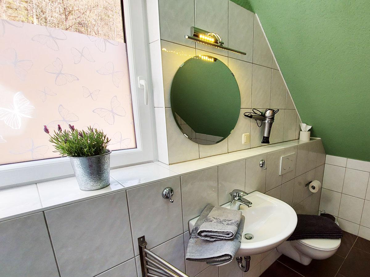 Ferienhaus Zum Kirnitzschtal - Ferienwohnung3 - Badezimmer mit Waschbecken und WC