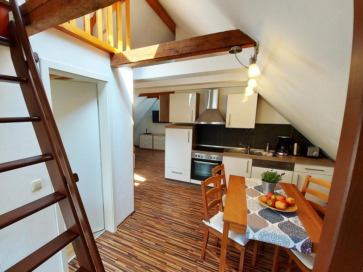 Ferienhaus Zum Kirnitzschtal - Ferienwohnung3 - Küche mit Essbereich