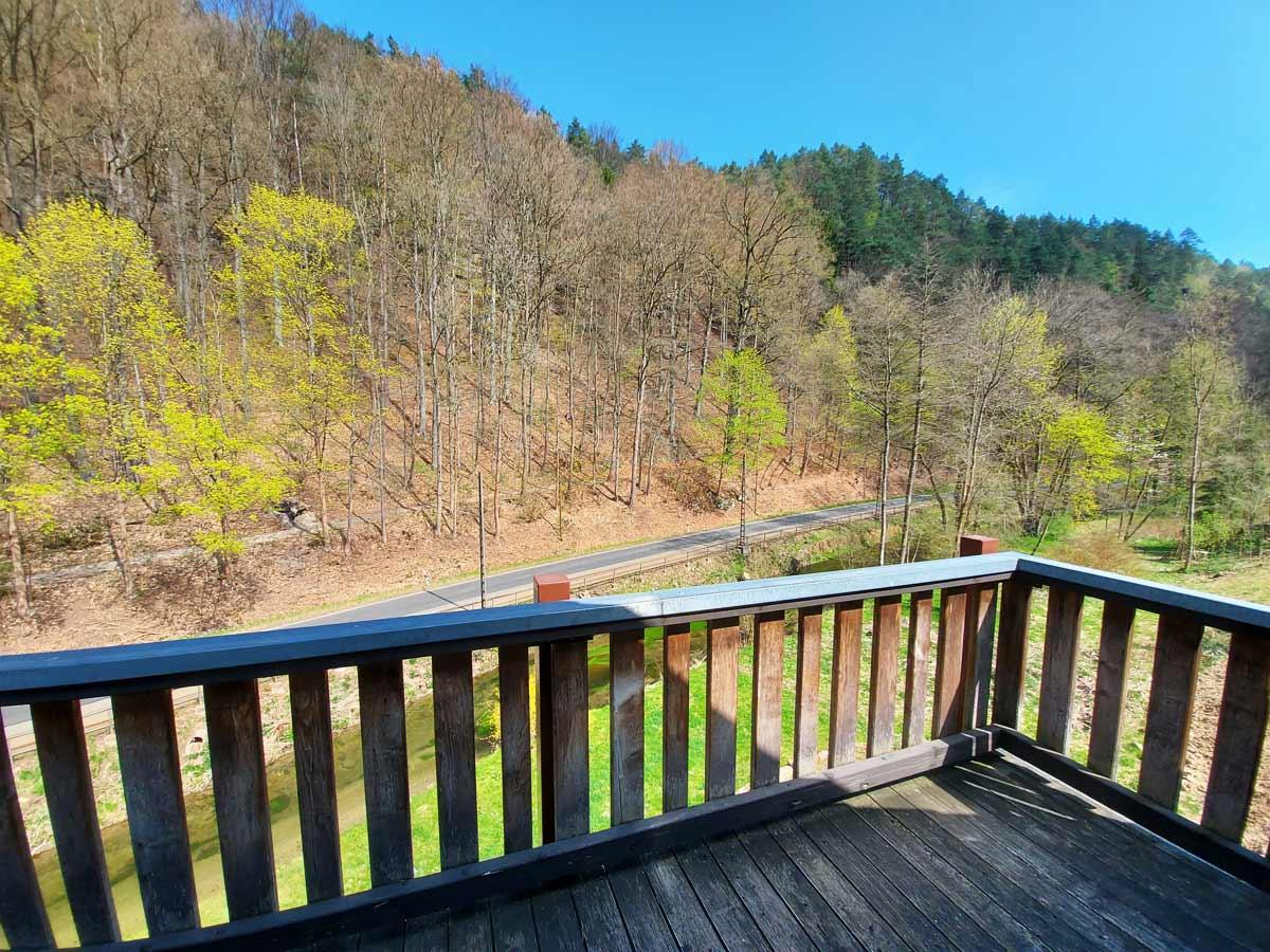 Ferienhaus Zum Kirnitzschtal - Ferienwohnung3 - Wohnzimmer mit Balkon